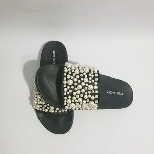 6c2782f7ef8 Steve Madden Shoes - STEVE MADDEN embellished pearl black slide sandal